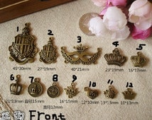 12 Styles Bronze fittings, diy jewelry materials accessories, retro hand-beaded, Crown trinkets ornaments--Quantity and style Free Choice
