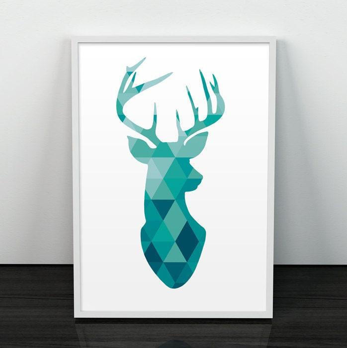 Geometric Purple Deer Wall Art Print Modern Poster Buck: Deer Print Antler Print Deer Poster Wall Art Wall Print