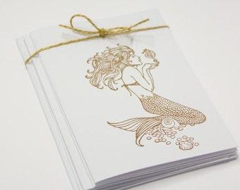 Mermaid Seashells Blank Cards Folded Set of 5 hand stamped teacher gift with envelopes seaside beach