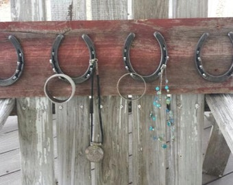 Barn Board 4 Horseshoe Jewelry Holder