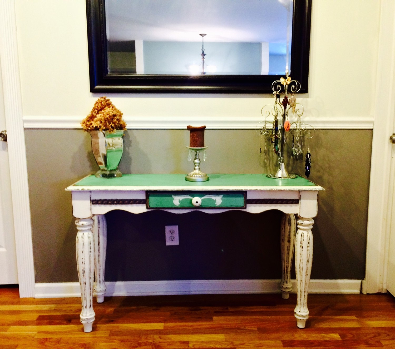 Teal Sofa Table: SOLDVintage Style Shabby Chic Teal & Cream Sofa Table
