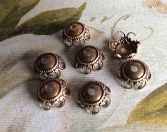 Antique brass filigree bead caps 10 pc