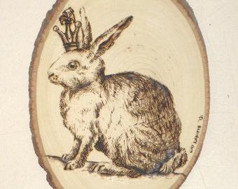 Woodburned Wall Art:  King Rabbit on Raw Tree Section
