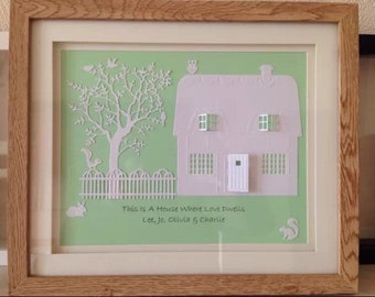 3d personalised home picture, ideal new home gift. House warming.