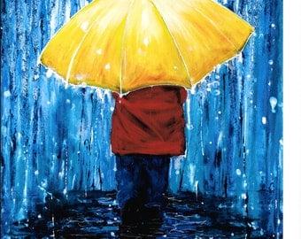 A Walk in the Rain -. 8x10 print