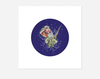 Blue CIRCULAR ART : Archival Print on Etching Paper, Design / Collage of Sea Creature