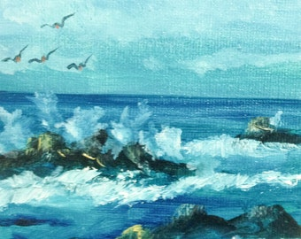 """SEASCAPE--- original oil painting mini art from my """" sweets"""" collection gorgeous one of a kind piece of art.Now*******Free Shipping********"""