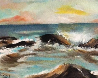 """SEASCAPE--- original oil painting mini art from my """" sweets"""" collection gorgeous one of a kind piece of art.Now********Free Shipping******"""