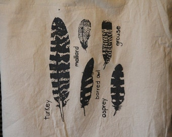 Tote Bag with Feathers, Canvas Market Bag with Screenprinted Feathers