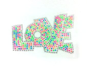 Medium nailhead and rhinestone iron on neon anchor patch appliqué for DIY fashion crafts and home decor