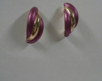 Vintage Purple  Enamel Earrings