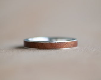 Thin wooden and silver ring