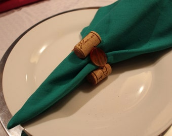 Wine Cork & Earth Tone Bead Napkin Ring