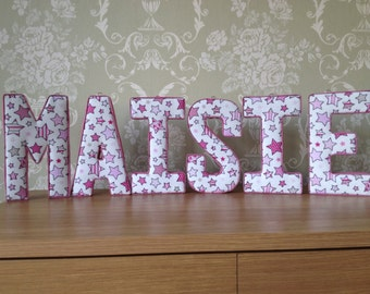 Fabric letters, 3D wall art, ideal nursery or Christmas/Christening gifts