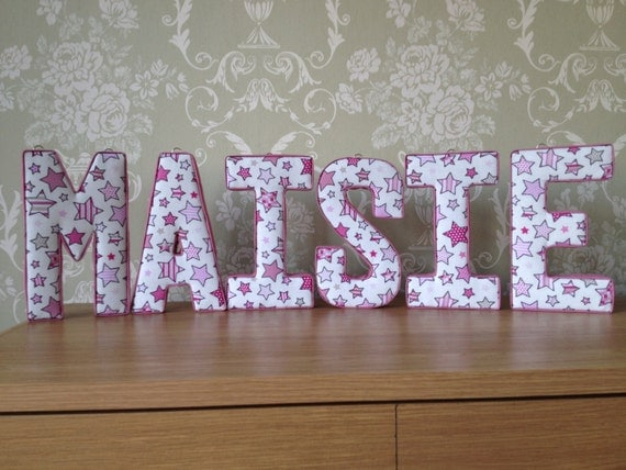Fabric letters 3d wall art ideal nursery or for Fabric covered letters for nursery
