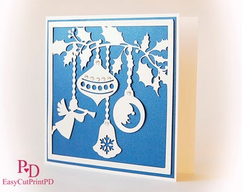 Sale 50% Christmas Card Ornament Hanging Baubles ball Papercut (svg, dxf, ai, eps, png) Overlay Cut, Glass Block Silhouette Cameo