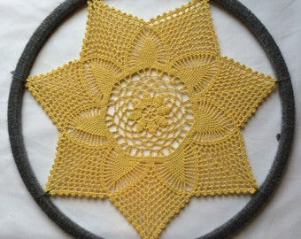 RESERVED (Heather) Daydreamer - Doily Wall Art in Golden Yellow & Gray