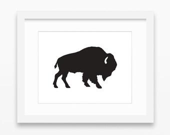 Buffalo Print, Buffalo Art, Buffalo Wall Art, Buffalo Silhouette Print ...