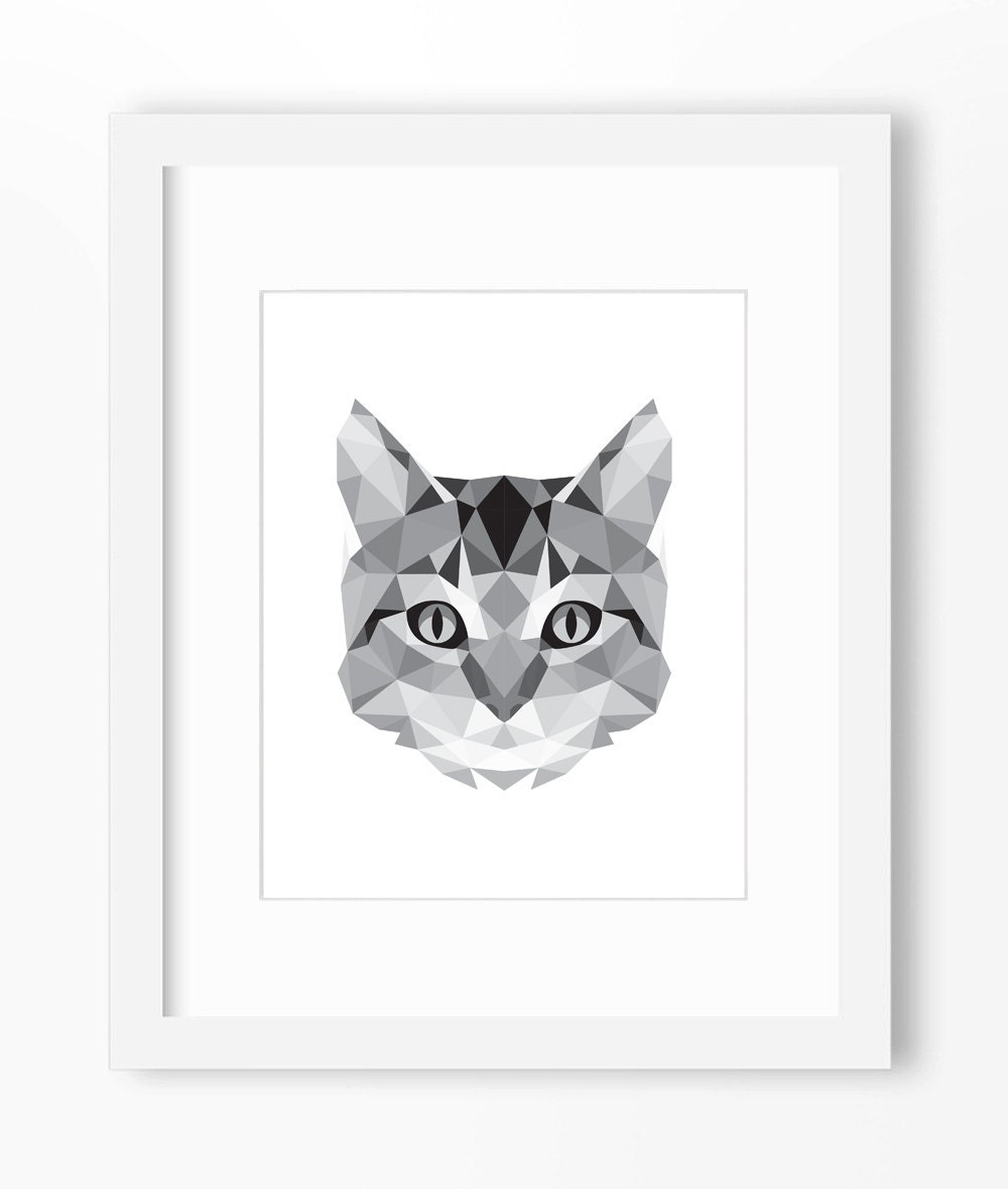 Geometric Cat Head Cat Face Geometric Cat