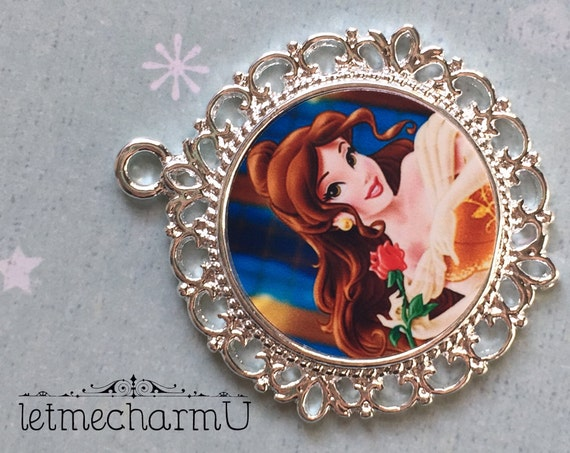 Items similar to disney princess belle pendant disney for Disney beauty and the beast jewelry