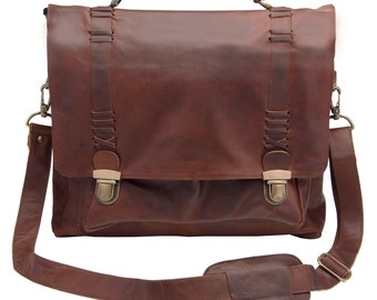 "Leather Satchel - Messenger Bag, 15"" Laptop capacity in Vintage Brown by MAHI Leather"