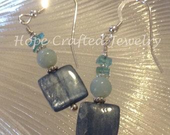 Kyanite, Aquamarine, Apatite, Sterling Silver Earrings (E004AA)