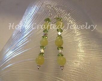 Happy Green Peridots & Lemon Jade Sterling Silver Earrings (E030PLJ)