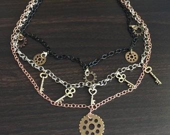 Steampunk key and gears multiwear necklace