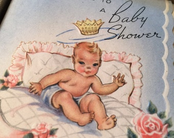 Complete set of 8 unused vintage baby shower cards plus extra