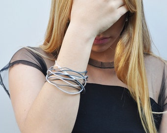 Hand Hammered Bangles, Silver Bracelet Stack, Set of 12 Women Bracelet, Stacking Bangle Bracelet, Thin Bangle Set, Summer Jewelry