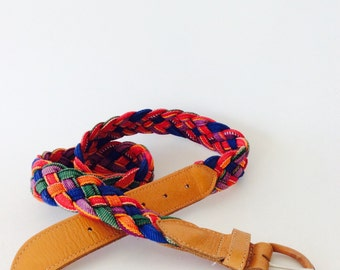 Colorful braided Guatemalan belt / colorful summer belt / brown leather belt vintage braided belt boho colorful belt leather large belt