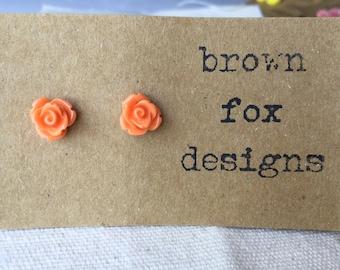 Orange resin rose stud earrings