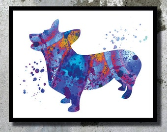 Welsh Corgi Watercolor Print Corgi Dog Art Print Dog Watercolor Home Decor Watercolor painting Dog Illustration Children's Wall Art Giclee
