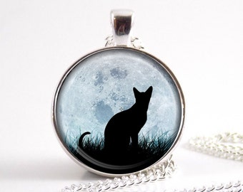 Cat at Full Moon Pendant Charm Necklace Jewelry Glass Pendant