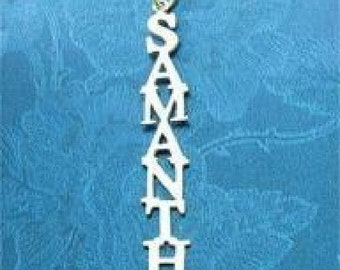 Sterling 925 Silver Vertical Name Necklace Women Samantha
