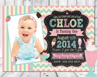 Ice Cream Neapoloitan Polka Dots Chevron Strips 1st - 100th Photo Brithday Invitation Invites Chalkboard Custom & Personalized