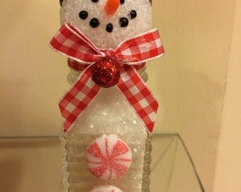 Cute and Festive Upcycled Salt Shaker Snowman Holiday Decoration