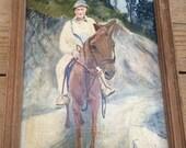 Vintage oil painting man on horse.