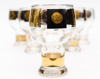Cera Glass 22k Gold Coin Beer Goblets