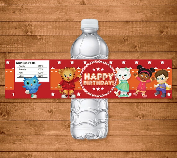 Daniel Tiger Water Bottle Labels Red Stars - Daniel Tiger Drink Labels - Daniel Tiger Party Favors - Daniel Tiger Printables