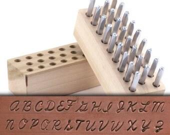 """Metal Letter Stamp Set Script Uppercase 1/8"""" (3.2mm) (SET025)"""