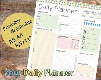 "Day planner Printable, Daily Planner Editable, Daily Organizer Printable, Day planner, 8.5""x11"" Planner Pages – Instant download PDF"