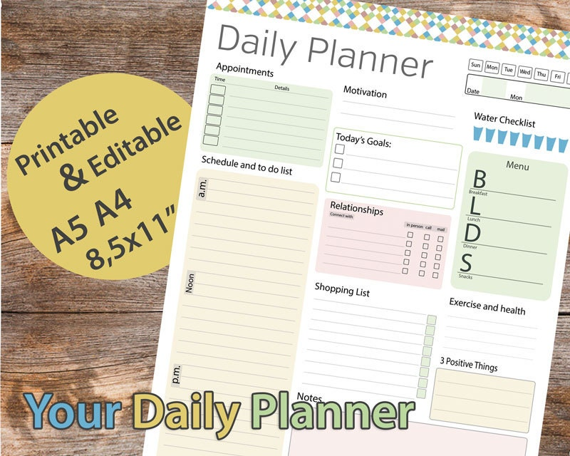 Day planner Printable Daily Planner Editable Daily Organizer – Daily Organizer Template