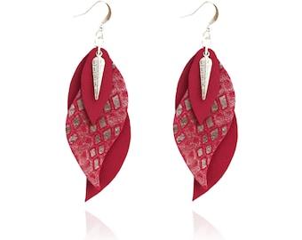 leaf earrings- leather earrings- leather leaf- purple earrings-purple jewelry-SARAYANA-