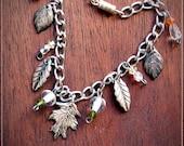 Charm Bracelet, Silver Bracelet, Earthtone Bracelet, Hippie Bracelet, Rustic Bracelet, Charm Dangle Bracelet, Boho, Hippie, Tribal, Bracelet