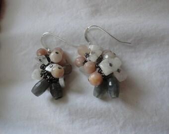 Labradorite, Moonstone, Sunstone Dangling Earrings Sterling Silver, Gunmetal