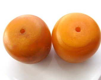Two jumbo beads, Amber simulant, Trade beads, 34 by 37mm - # 419