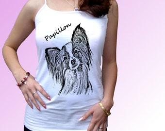 Papillon - new white t shirt dog breed design - mens womens kids & baby sizes
