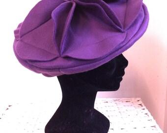 Purple fleece flower beret