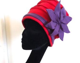 Red and purple fleece Regina hat